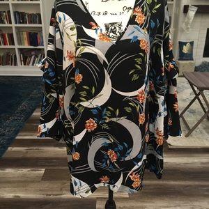 Alfani Plus   Navy Tunic Kimono Style Floral